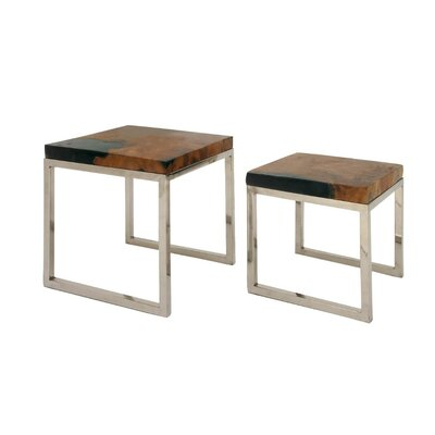 Mcclain Teak Wood 2 Piece Nesting Tables