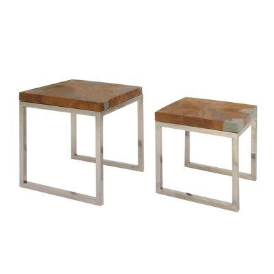 Cortaro Teak Aluminum Resin 2 Piece Nesting Tables