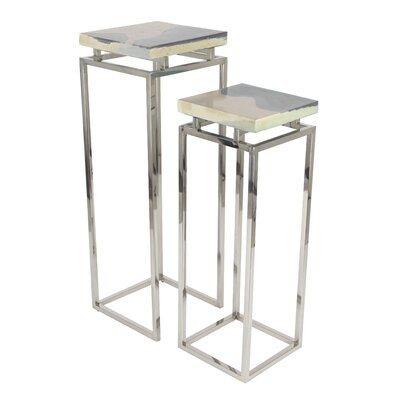 Eila 2 Piece Pedestal Nesting Tables Set Finish: Gray