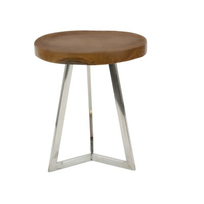 Mardie Round Wood and Stainless Steel End Table