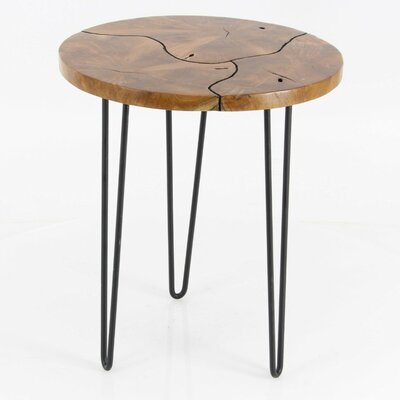 Keena Teak End Table Color: Black