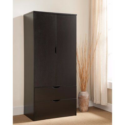 Cianjur Spacious 2 Door Wardrobe Armoire Color: Dark Brown