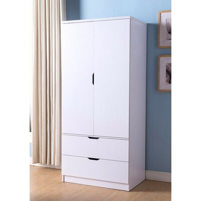 Cianjur Spacious 2 Door Wardrobe Armoire Color: White
