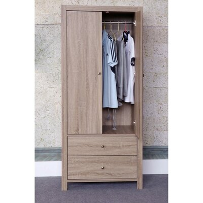 Astaire Commodious 2 Drawer Wardrobe Armoire Color: Brown