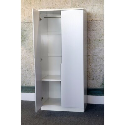Cipriano Sophisticated 2 Magnet Closing Door Wardrobe Armoire Color: White