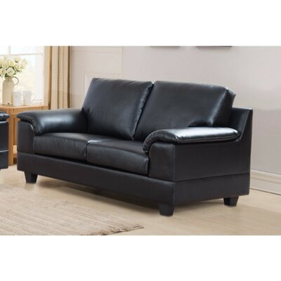 Driggers Loveseat with Velvety Arm Rest Upholstery: Black