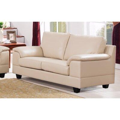 Driggers Loveseat with Velvety Arm Rest Upholstery: Cream