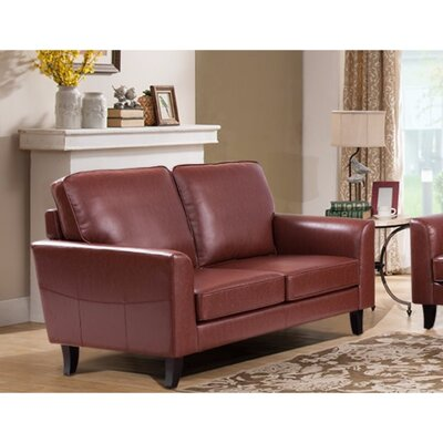 Kinnas Modish Loveseat Upholstery: Red
