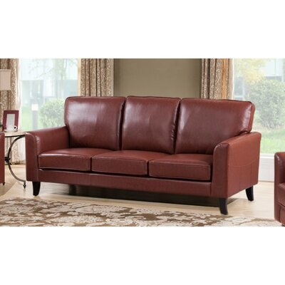 Kinnas Sofa with Velvety Cushion Upholstery: Brown