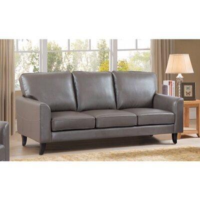 Kinnas Sofa with Velvety Cushion Upholstery: Gray