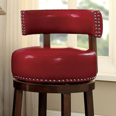 Amell 24 Bar Stool Upholstery: Red