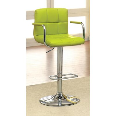 Mendon Adjustable Height Swivel Bar Stool Color: Green