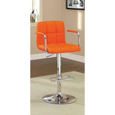 Mendon Adjustable Height Swivel Bar Stool Color: Orange