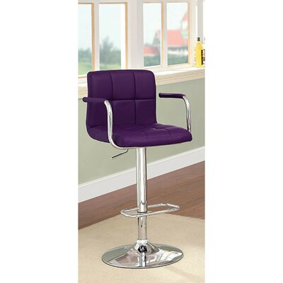 Mendon Adjustable Height Swivel Bar Stool Color: Purple