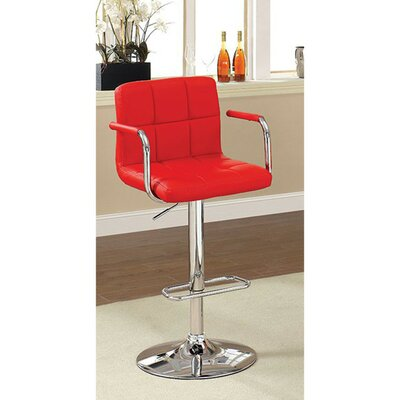 Mendon Adjustable Height Swivel Bar Stool Color: Red