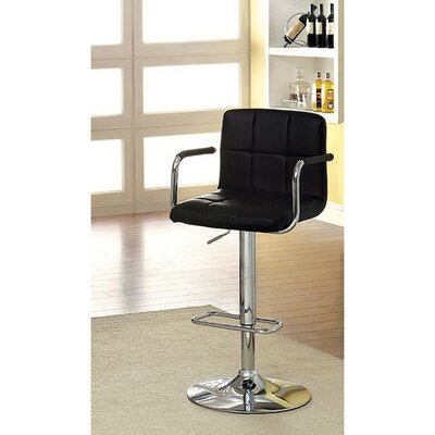 Mendon Adjustable Height Swivel Bar Stool Color: Black