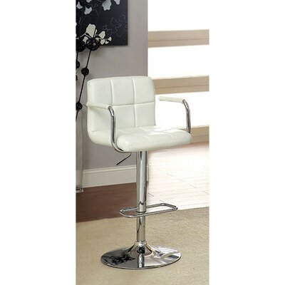 Mendon Adjustable Height Swivel Bar Stool Color: White