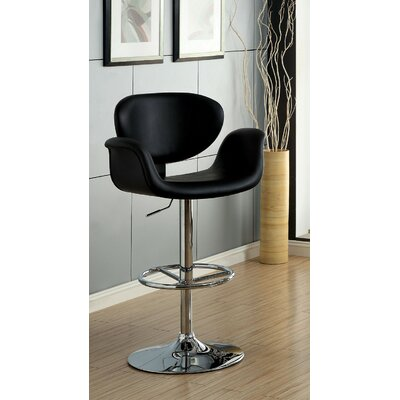 Menneken Adjustable Height Swivel Bar Stool Color: Black