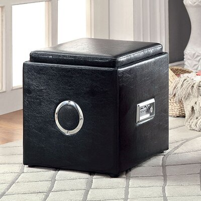 Crider Pouf Leather Upholstery: Black