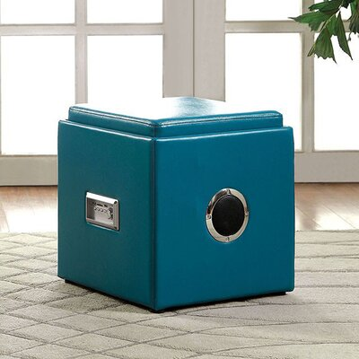 Crider Pouf Leather Upholstery: Blue