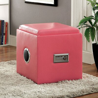 Crider Pouf Leather Upholstery: Pink