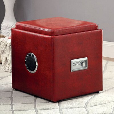 Crider Pouf Leather Upholstery: Red