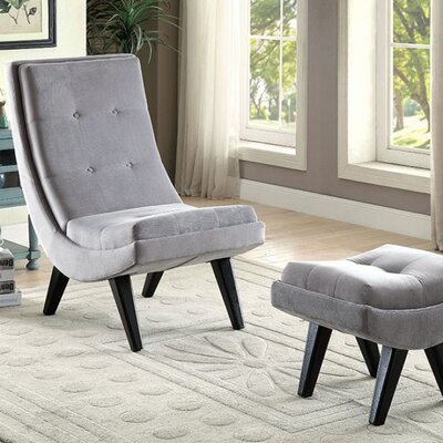 Avianna Transitional Lounge Chair and Ottoman Upholstery: Gray