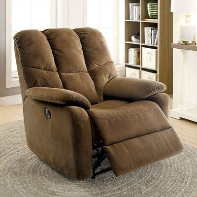 Neddra Recliner Upholstery: Brown