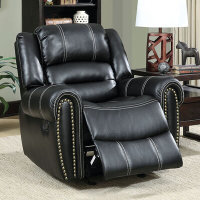 Aren Transitional Leather Manual Rocker Recliner
