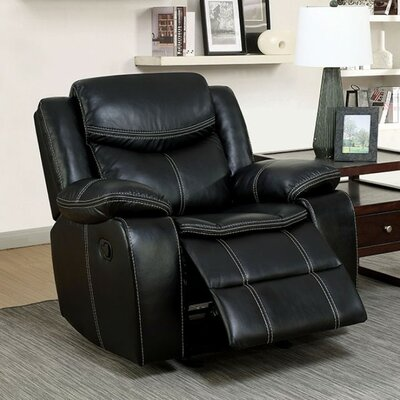 Roddy Transitional Leather Manual Rocker Recliner