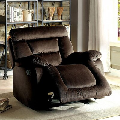 Mayme Glider Recliner Upholstery: Brown
