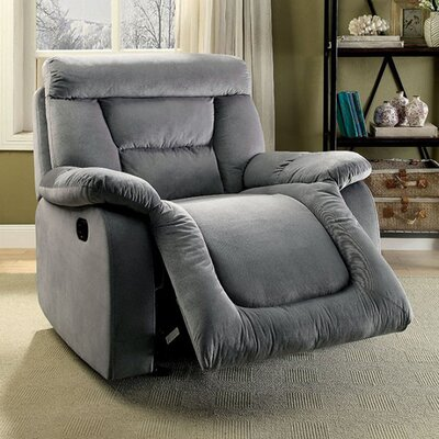 Mayme Glider Recliner Upholstery: Gray