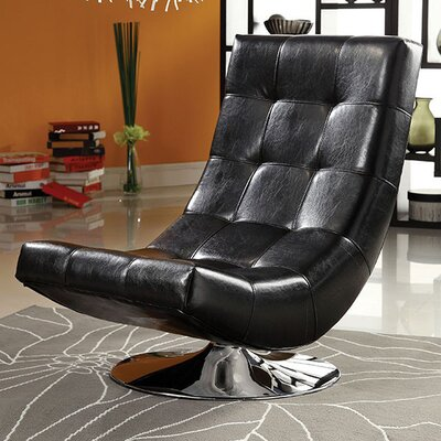 Miles Swivel Chesterfield Chair Upholstery: Black