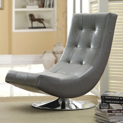 Miles Swivel Chesterfield Chair Upholstery: Gray