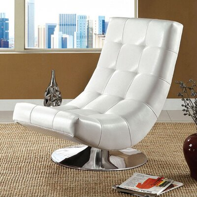 Miles Swivel Chesterfield Chair Upholstery: White