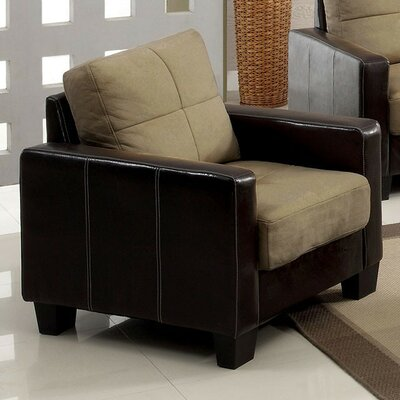 Roeder Contemporary Armchair Upholstery: Tan/Espresso