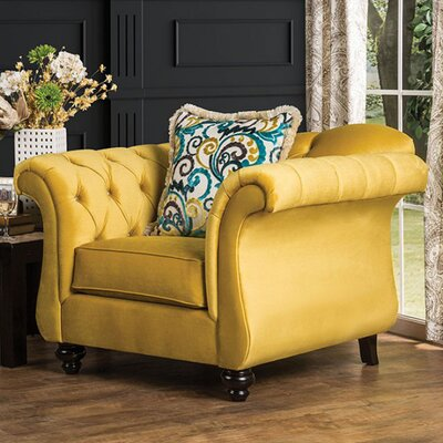 Antoinette Chesterfield Chair Upholstery: Yellow