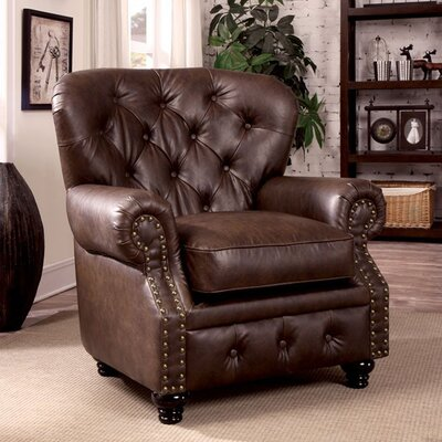 Felipe Chesterfield Chair Upholstery: Brown