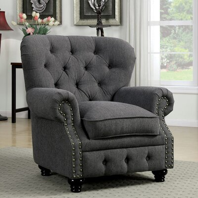 Felipe Chesterfield Chair Upholstery: Gray
