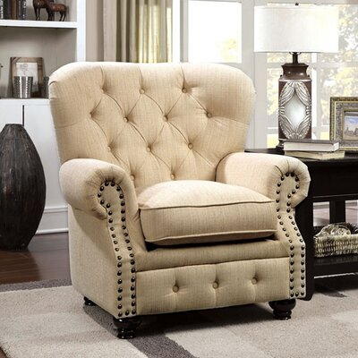 Felipe Chesterfield Chair Upholstery: Ivory
