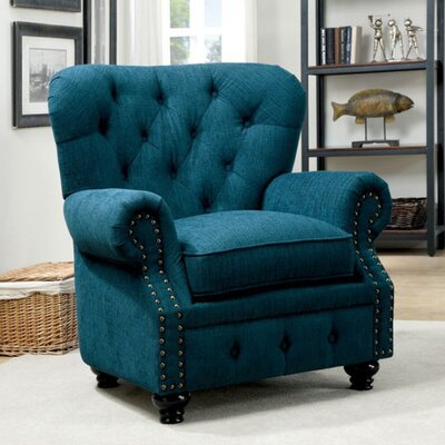Felipe Chesterfield Chair Upholstery: Dark Teal