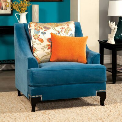 Arely Traditional Armchair Upholstery: Blue