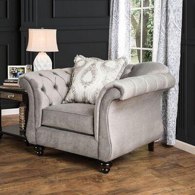 Antoinette Chesterfield Chair Upholstery: Gray