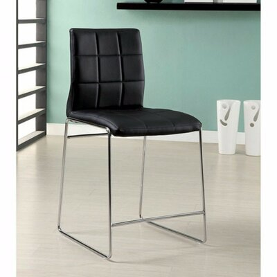 Roesler Contemporary Leather Upholstered Dining Chair Upholstery Color: Black