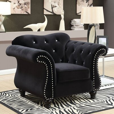Brooks Glam Chesterfield Chair Upholstery: Black