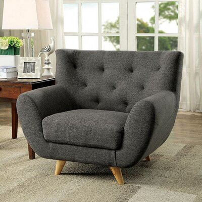 Hydri Midcentury Chesterfield Chair Upholstery: Gray