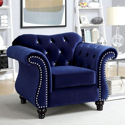 Brooks Glam Chesterfield Chair Upholstery: Blue