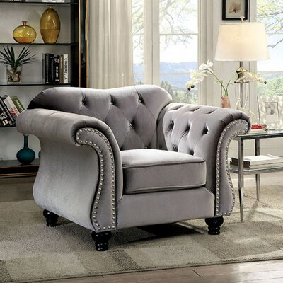 Brooks Glam Chesterfield Chair Upholstery: Gray