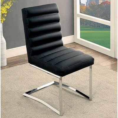 Ballinderry Solid Wood Dining Chair Upholstery Color: Black