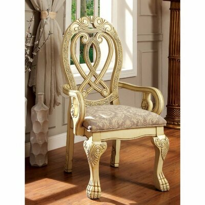 Barrymore Traditional Solid Wood Arm Chair Color: Cream